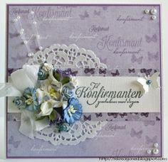 {Re}kreasjoner: Konfirmasjonskort // Purple and blue confirmation card. Papirdesign products