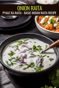 Onion raita - If you have been craving some Indian raita to go with your biryani, then this recipe is for you. Make it with ingredients that you have at home and in less than 5 minutes. It is the perfect way to finish off a delicious Indian meal. Vegan Indian Recipes, Vegetarian Recipes, Healthy Recipes, Side Dish Recipes, Soup Recipes, Snack Recipes, Savoury Recipes, Side Dishes For Chicken, Vegetarische Rezepte