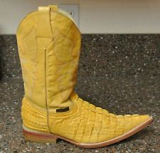 Women's Orange Caiman/Alligator and Leather Cowgirl Roper Boots Size 7.5