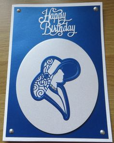 blue lady birthday card using tattered lace die