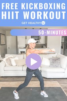 This 50-minute at-home kickboxing HIIT workout is for any and all fitness levels! From beginners to advanced, this workout can be done from the comfort of your own home and is sure to burn up calories and get you sweating! Hiit Workout At Home, Workout Videos, At Home Workouts, Hiit Class, Kick Boxing, Muscle Building Workouts, Cardio Workouts, High Intensity Interval Training, Pilates