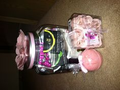 Gift idea: Spa accessories in a Masson jar w/ fabric flowers on top :)))