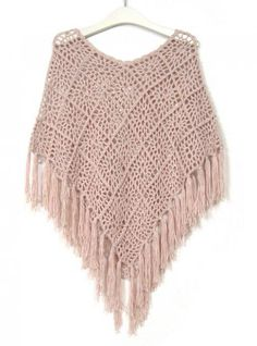 Fringed Bat Sleeve Cape Sweater Pink$42.00