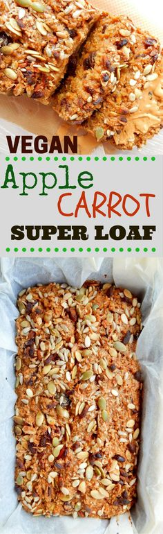 A Wholesome Vegan Apple Carrot Power Loaf - Made on oats, sweetened with leftover jam, molasses, cinnamon, raisins and of course apple and carrot!