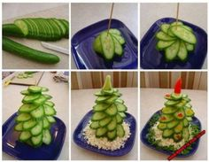 Cucumber tree :-D - Food Carving Ideas Salad Recipes Healthy Lunch, Salad Recipes For Dinner, Christmas Appetizers, Christmas Treats, Funny Christmas, Diy Christmas, Edible Centerpieces, Food Carving, Xmas Food