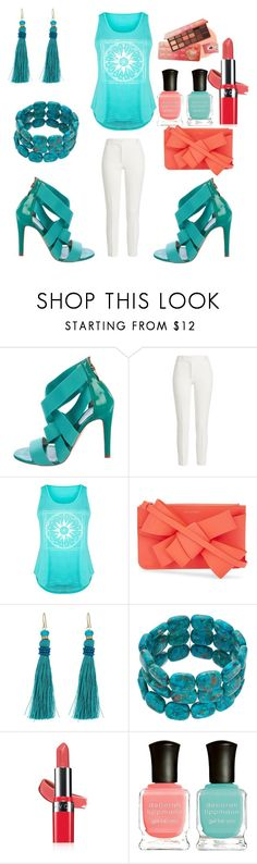 """Turquoise Set."" by peacock-style ❤ liked on Polyvore featuring Sergio Rossi, Joseph, LC Trendz, Delpozo, Lauren Ralph Lauren, Avon, Deborah Lippmann, peachlipstick and plus size clothing"
