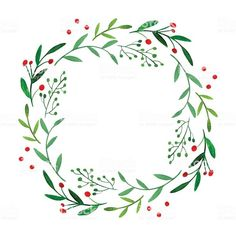 Wonderful Pics Spring Wreath illustration Suggestions For anyone who is straight into creating DIY early spring wreaths, you've probably challenged the Watercolor Christmas Cards, Christmas Drawing, Watercolor Cards, Christmas Art, Christmas Wreaths, Christmas Border, Winter Wreaths, Christmas Flowers, Spring Wreaths