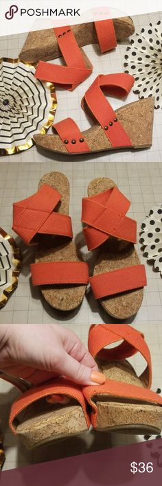 e43821a8ece Lucky Brand Marinah Hot Orange Coral Wedges 8 Worn for less than 5 minutes!  Lucky. Coral WedgesLucky Brand ShoesWedge ...