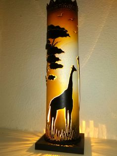 Sunset over the Savannah PVC tube lamp Pvc Pipe Crafts, Diy And Crafts, Columns Decor, Pipe Lighting, Pvc Projects, Bamboo Crafts, Pipe Lamp, Lamp Bases, Lamp Design