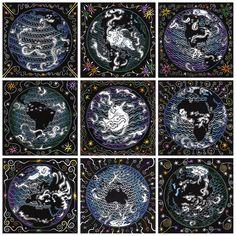 Nine Views of Earth linocut by Jill Bergman