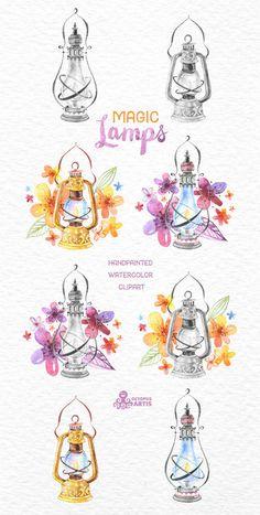 Magische Lampen. Wasserfarben handbemalt Clipart von OctopusArtis