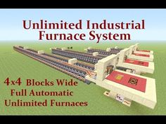 Minecraft Tutorial : Unlimited Industrial Furnace System Any Size & Fully Automatic Minecraft Redstone Tutorial, Minecraft Seed, Easy Minecraft Houses, Minecraft House Tutorials, Minecraft Plans, Minecraft House Designs, Minecraft Survival, Minecraft Blueprints, Minecraft Creations