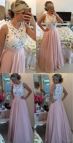 Elegant Long Prom Dress - Blush O-Neck A-Line with Lace