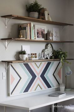 Transform a plain cork board into a piece of art! Perfect for a stylish home office. A beautiful mix of form and function! Home Office Shelves, Home Office Bedroom, Bedroom Decor, Decor Room, Diy Home Decor For Teens, Teen Decor, Diy Cork Board, Cork Boards, Teen Bedroom Organization