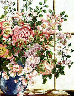 "RARE! GORGEOUS JANLYNN FLORAL ""ENGLISH ROSE BOUQUET"" NEEDLEPOINT KIT"