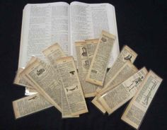 Are you looking for ideas on what to make with your vintage book pages like me? Well, these bookmarks are fun, slightly ironic, and educational. The idea of making bookmarks out of recycled book pages Old Book Crafts, Book Page Crafts, Book Page Art, Old Book Pages, Old Books, Vintage Books, Book Art, Vintage Library, Vintage Ideas
