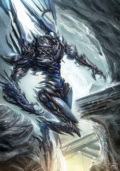 Robot Concept Art, Armor Concept, Weapon Concept Art, Beautiful Fantasy Art, Dark Fantasy Art, Sci Fi Fantasy, Gundam Wallpapers, Cool Robots, Sci Fi Armor