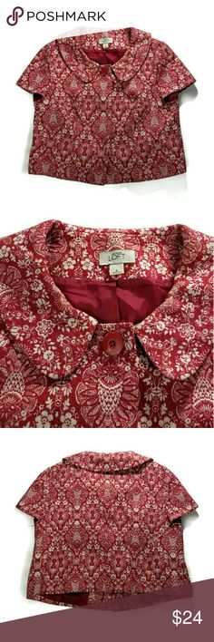 💥MAKE OFFER💥Ann Taylor Loft floral jacket Great condition. Size 8. Shell: 100 % cotton. Lining: 100% acetate. Thick cotton fabric. Cropped fit with short sleeves. Has 3 front button closure (1 visible and 2 hidden). Ann Taylor Jackets & Coats