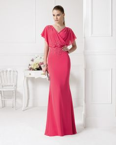 Aire Barcelona: Wedding dresses and evening gowns Chiffon Evening Dresses, Evening Outfits, Ball Dresses, Chiffon Dress, Evening Gowns, Ball Gowns, Beaded Chiffon, Evening Party, Glamour