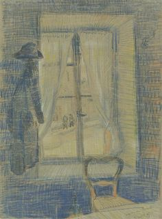 Vincent Van Gogh「Window in the Bataille Restaurant」(1887 Ink, chalk on paper)