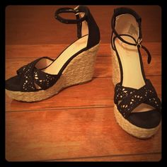"""Candie's black platform wedge sandals Worn once and in near flawless condition! Just minimal wear on bottoms. Black fabric with crochet detail across toes. Gold tone buckle on ankle strap. Approx 4"""" wedge heel with 1"""" platform. Size 9.5 but I wear a 9 and they fit perfectly. No trades but please use offer button:. Candie's Shoes Wedges"""