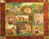 Foxes and Chickens, a PDF Pattern for a Raw Edge Quilt by Debora Konchinsky