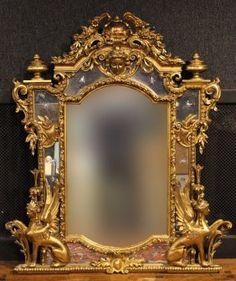 Egyptian Revival Giltwood Overmantel Mirror