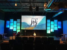 Jason Poeffel from CrossPointe Church in Peachtree City, GA brings us this super simple and clean stage design. Altar, Church Lobby, Church Events, Church Backgrounds, Peachtree City, Church Stage Design, Radiant Floor, Multipurpose Room, Church Interior