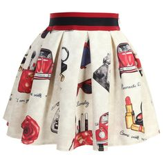 Monnalisa girls ivory floral skirt made from soft, smooth neoprene jersey with a quirky red and blue vintage image print. It has a softly pleated waist with a wide red and navy blue striped elastic waistband and it fastens at the back with a concealed zip.  First model: Height 128cm, Age 10 years Size of skirt shown in the photo: 8 years