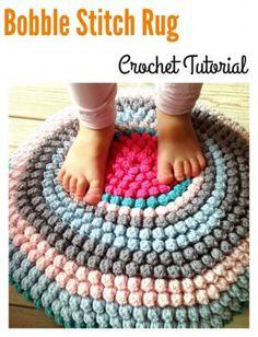 Crochet Bobble Stitch Rug Free Tutorial