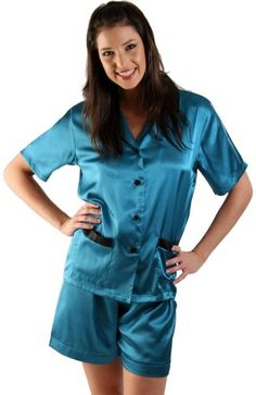 Del Rossa Women's Short Sleeve Satin Pajama Set with Shorts, XL Teal (A0762TEAXL)