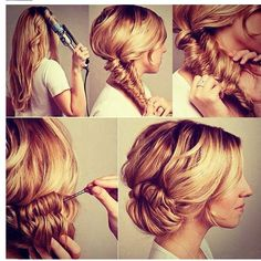 Fishtail up-do hairstyle