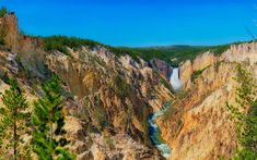 Download wallpapers Yellowstone, mountain river, waterfall, canyon, river, mountain landscape, USA, Montana, Yellowstone National Park