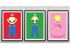Le jeu de Super Mario Print ensemble de trois par CaptainsPrintShop