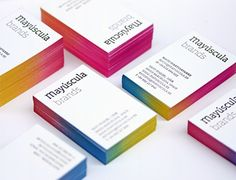 Mayúscula's letterpress business cards with a gradient edge made with 3 inks