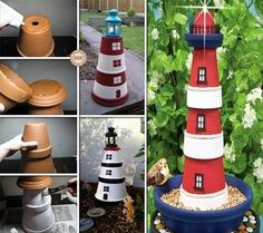 How to Make a Clay Pot Lighthouse!