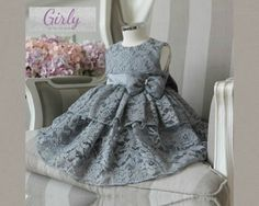 Gray Lace Girl Dress/Gray flower girl dress. Available from 3 month -12 years old  Material: Soft red lace, purified cotton lining, tulle mesh, satin. Free shipping.