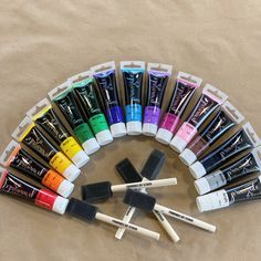 We have NEW to our DIY delivery CANADA wide - an assortment of our new paints! Get one of every colour, 4 brushes and 2 12x12 canvas' for curtsied pickup or delivery! Paint Line, Painted Boxes, Rainbow Colors, Brushes, Wrapped Canvas, Delivery, Canada, Colours, Diy
