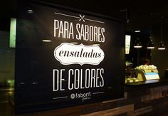 "Faborit Orense | Diseño de interior de restaurante en Madrid | Ondho ""Para sabores ensaladas de colores""  #Home #Decor #wood #Madrid #illustration #lettering #coffeeshop"