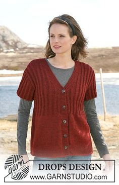 """Knitted DROPS jacket in stockinette st and rib with short sleeves in """"Classic Alpaca"""". Size S-XXXL. ~ DROPS Design"""