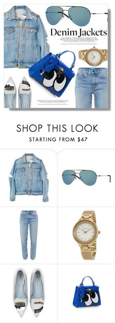 """Denim Style"" by smartbuyglasses ❤ liked on Polyvore featuring DKNY, M.i.h Jeans, Anne Klein, Chiara Ferragni, Blue and denimjackets"