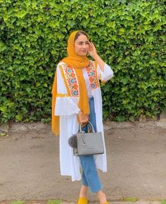 Yellow and white are the optimal choice for summer 💛👗💞 Hijab Fashion Summer, Modest Fashion Hijab, Modern Hijab Fashion, Frock Fashion, Hijab Fashion Inspiration, Muslim Fashion, Girls Fashion Clothes, Fashion Outfits, Mode Turban