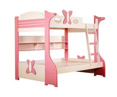 """Butterfly 201  Butterfly bunk bed having upper mattress sizes 72"""" X 36"""" lower mattress sizes 72"""" X 48"""" made of a combination heavy grade pre laminated particle board & HDF painted in child friendly PU paints. Price Rs: 45,000/-  visit http://kidsfurnitureworld.in/bunk-beds.html"""