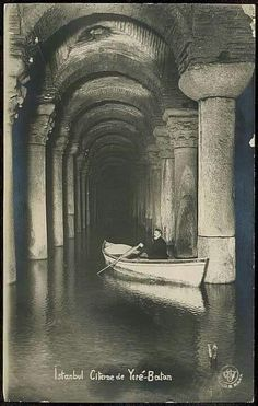 The Basilica Cistern Yere-Batan (Filoksenus Palace) / Istanbul Yerebatan… London History, Turkish Beauty, Famous Places, Ottoman Empire, Historical Pictures, Colorful Pictures, Go Kart, Archaeology, Old Photos