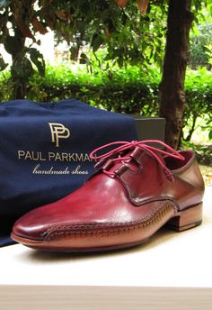 Paul Parkman Men's Ghillie Lacing Side Handsewn Shoes Burgundy Leather