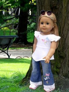 Jeans Set For American Girl Doll Clothes (837654748329) Trendy Jeans Set 2 Piece Outfit with Butterfly Appliques Top Quality Material