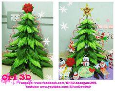Tutorial 3D Origami Christmas Tree - Hướng dẫn xếp cây thông Origami 3D