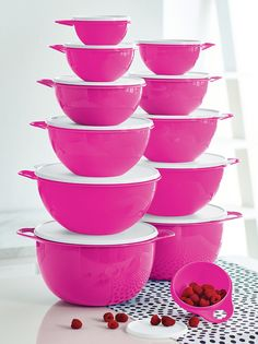 Thatsa® Bowls in Electric Pink. Available through October 28, 2016.  Multipurpose bowls give you a superior grip when preparing a variety of foods and recipes from cookie dough to meatloaf to garden-fresh salads. Built-in thumb handle offers superior control when mixing or tossing.