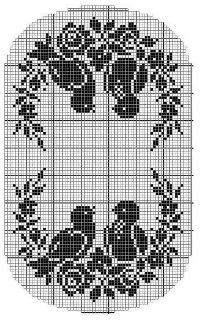Vintage Filet Crochet Pattern Chair Back&Oval Doily Birds&Roses