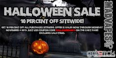 """I just got the heads up on the MadVapes Halloween sale. Just use the coupon code """"HALLOWEEN2013"""" at checkout and save 10% off your entire purchase. Offer is valid now through November 4, 2013. Offer excludes sale items. http://gotsmok.com"""